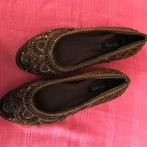 Bronze beaded flat shoes 8.5 medium